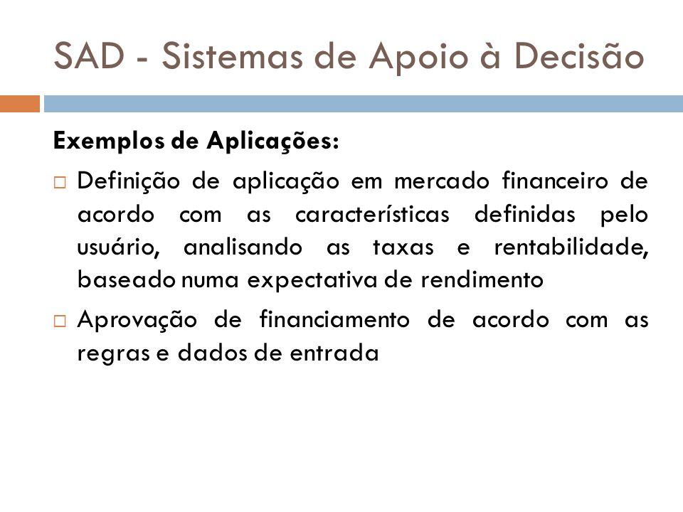 SAD - Sistemas de Apoio à Decisão Exemplos de Aplicações:  Definição de aplicação em mercado financeiro de acordo com as características definidas pe
