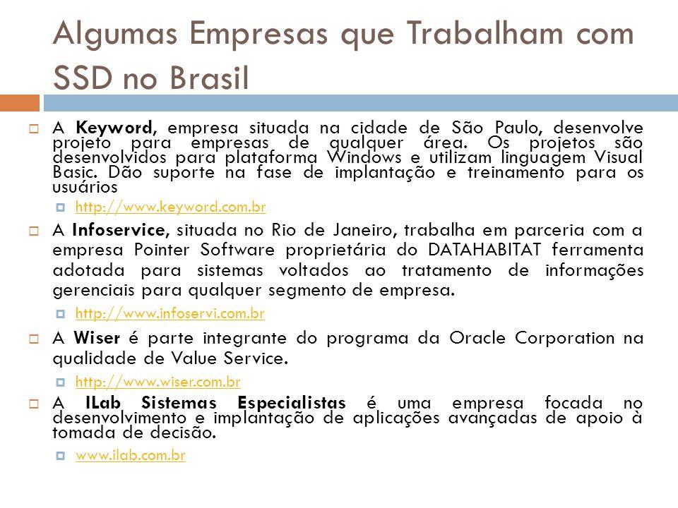 Algumas Empresas que Trabalham com SSD no Brasil  A Keyword, empresa situada na cidade de São Paulo, desenvolve projeto para empresas de qualquer áre