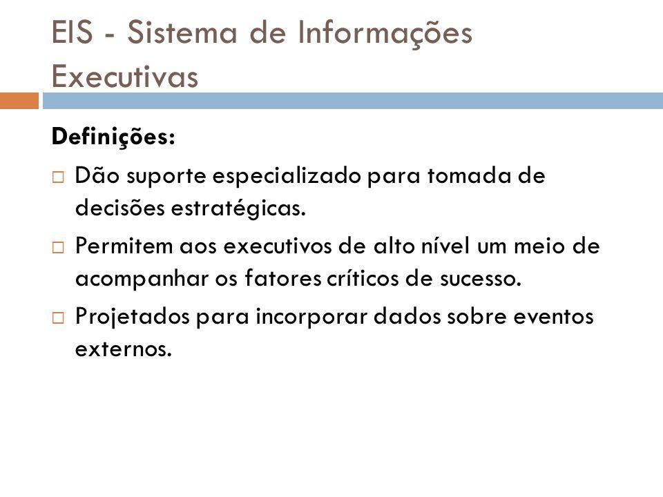 EIS - Sistema de Informações Executivas Definições:  Dão suporte especializado para tomada de decisões estratégicas.  Permitem aos executivos de alt