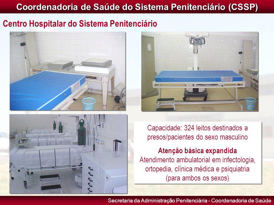Secretaria da Administração Penitenciária - Coordenadoria de Saúde Capacidade: 324 leitos destinados a presos/pacientes do sexo masculino Atenção bási