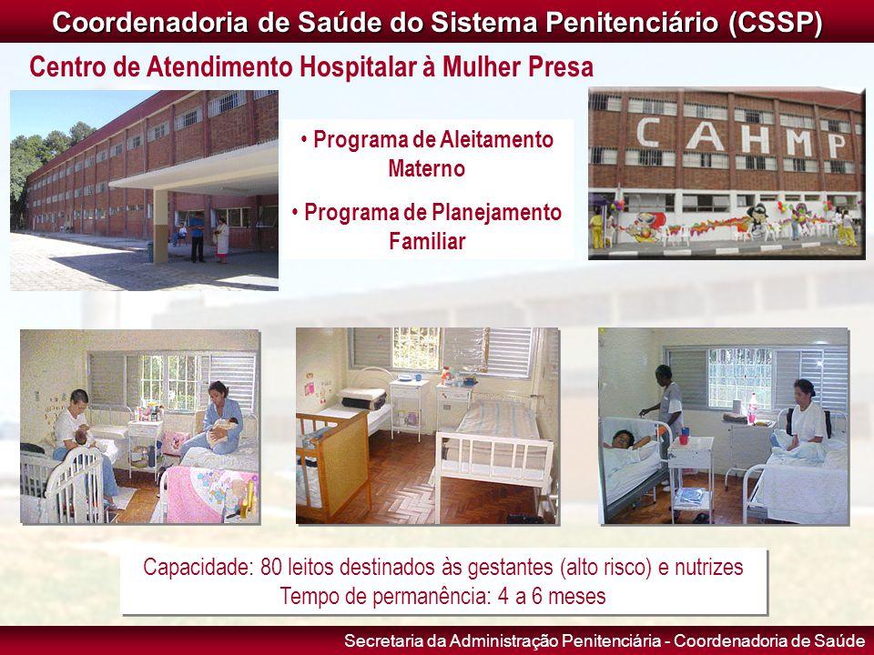 Secretaria da Administração Penitenciária - Coordenadoria de Saúde Capacidade: 80 leitos destinados às gestantes (alto risco) e nutrizes Tempo de perm