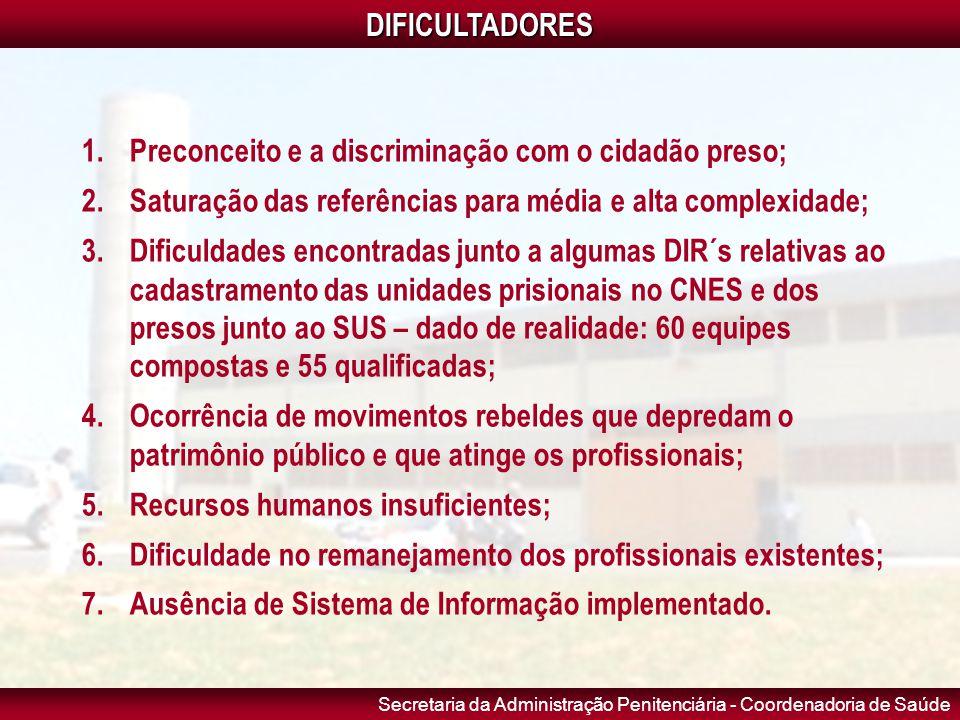 Secretaria da Administração Penitenciária - Coordenadoria de SaúdeDIFICULTADORES 1.Preconceito e a discriminação com o cidadão preso; 2.Saturação das