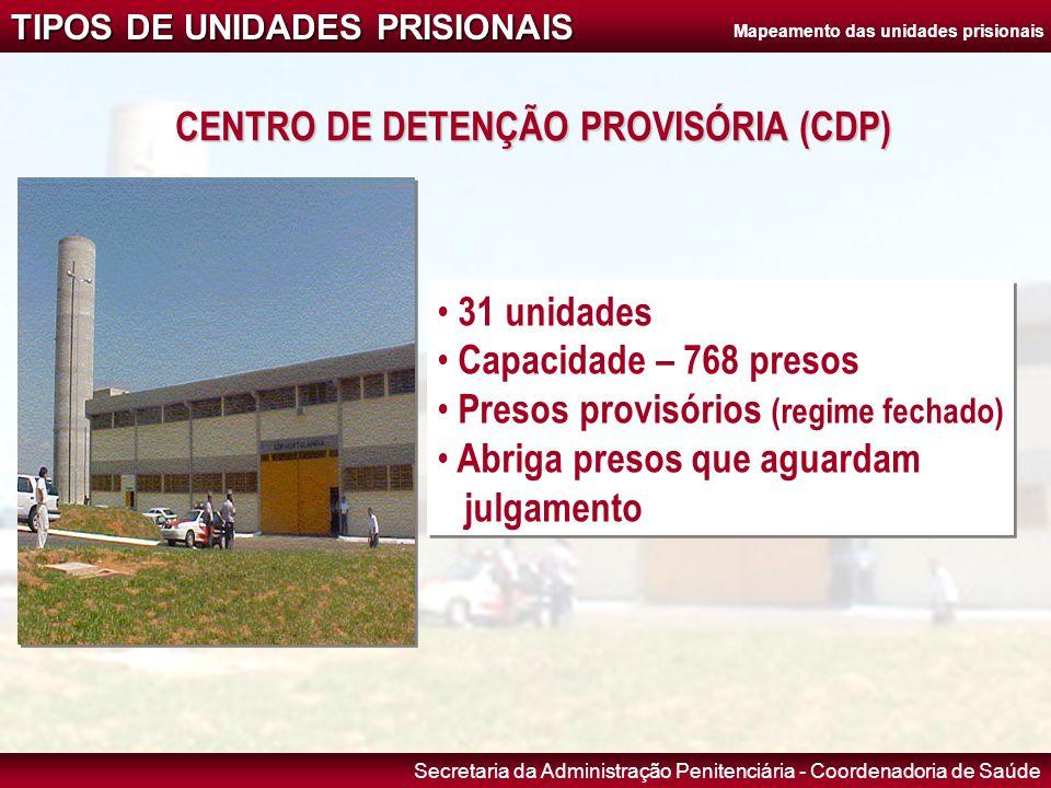 Secretaria da Administração Penitenciária - Coordenadoria de Saúde CENTRO DE DETENÇÃO PROVISÓRIA (CDP) • 31 unidades • Capacidade – 768 presos • Preso