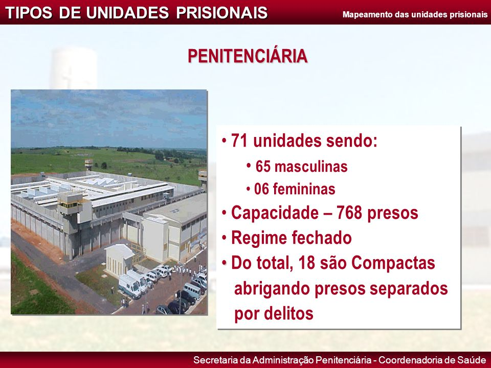 Secretaria da Administração Penitenciária - Coordenadoria de Saúde TIPOS DE UNIDADES PRISIONAIS CENTRO DE PROGRESSÃO PENITENCIÁRIA (CPP) • 07 unidades • Capacidade – 672 presos • Regime semi-aberto • O preso trabalha dentro e fora do CPP • 07 unidades • Capacidade – 672 presos • Regime semi-aberto • O preso trabalha dentro e fora do CPP Mapeamento das unidades prisionais