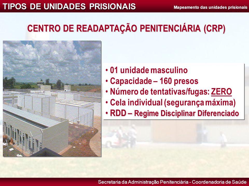 Secretaria da Administração Penitenciária - Coordenadoria de Saúde CENTRO DE READAPTAÇÃO PENITENCIÁRIA (CRP) • 01 unidade masculino • Capacidade – 160