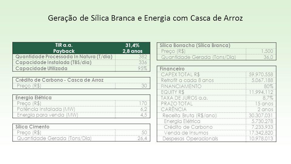 TIR a.a.31,4% Payback2,8 anos Quantidade Processada In Natura (T/dia) 382 Capacidade Instalada (TBS/dia) 336 Capacidade Utilizada 95% Crédito de Carbo