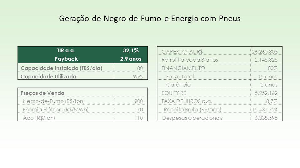 TIR a.a.32,1% Payback2,9 anos Capacidade Instalada (TBS/dia) 80 Capacidade Utilizada 95% Preços de Venda Negro-de-Fumo (R$/ton)900 Energia Elétrica (R
