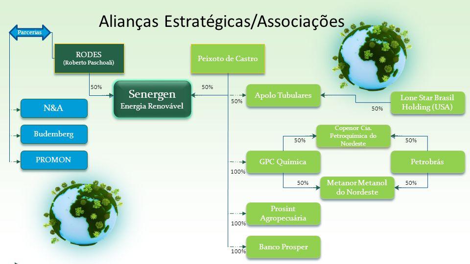 Alianças Estratégicas/Associações RODES (Roberto Paschoali) RODES (Roberto Paschoali) Peixoto de Castro Lone Star Brasil Holding (USA) Petrobrás GPC Q