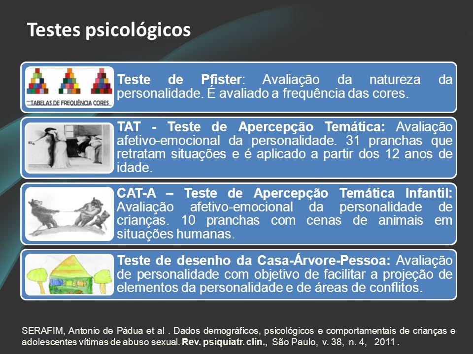 Testes psicológicos Teste de Pfister: Avaliação da natureza da personalidade. É avaliado a frequência das cores. TAT - Teste de Apercepção Temática: A