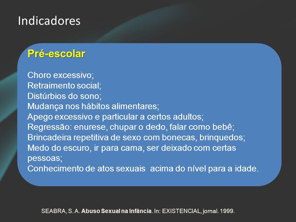 Indicadores Pré-escolar Choro excessivo; Retraimento social; Distúrbios do sono; Mudança nos hábitos alimentares; Apego excessivo e particular a certo