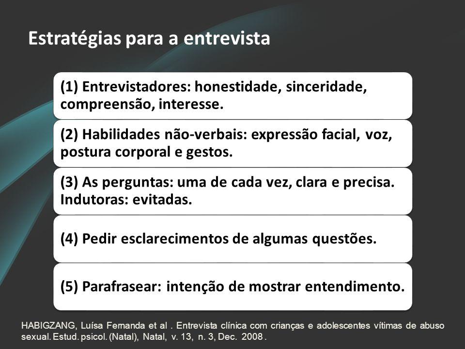 Estratégias para a entrevista (1) Entrevistadores: honestidade, sinceridade, compreensão, interesse. (2) Habilidades não-verbais: expressão facial, vo
