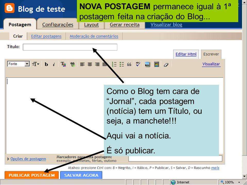 Como o Blog tem cara de Jornal , cada postagem (notícia) tem um Título, ou seja, a manchete!!.