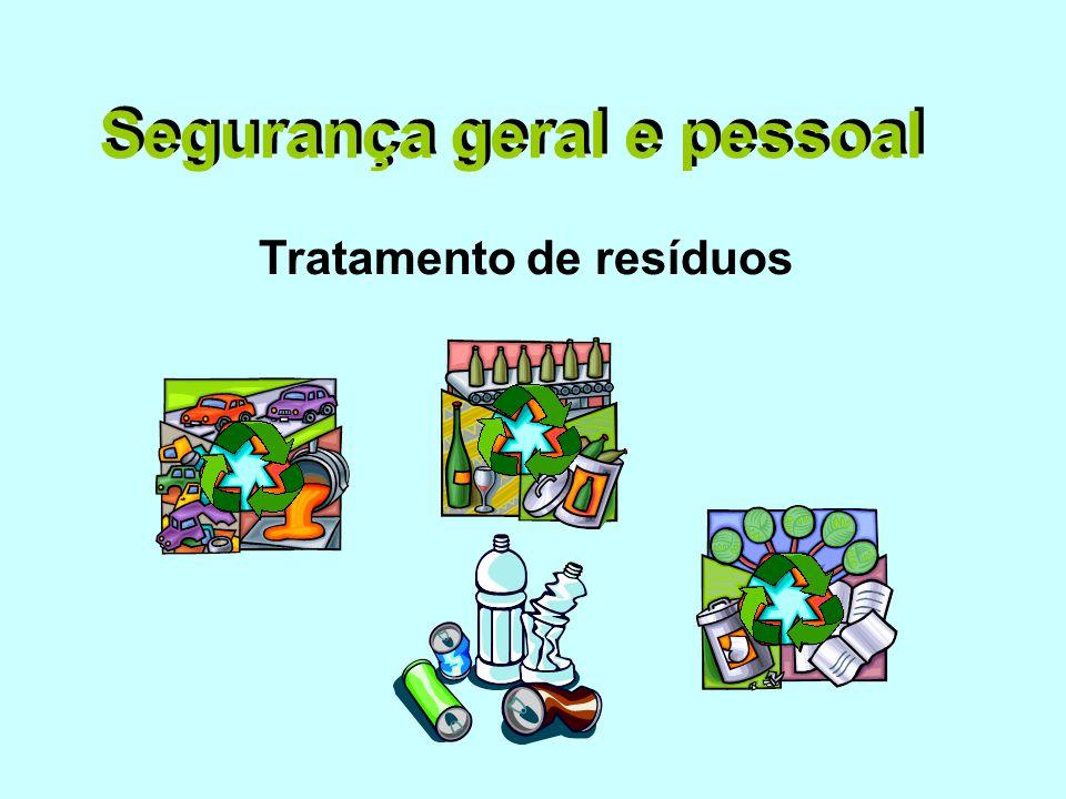 Segurança geral e pessoal Tratamento de resíduos