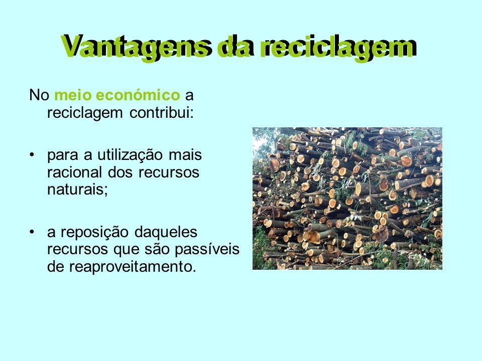 No meio económico a reciclagem contribui: •para a utilização mais racional dos recursos naturais; •a reposição daqueles recursos que são passíveis de