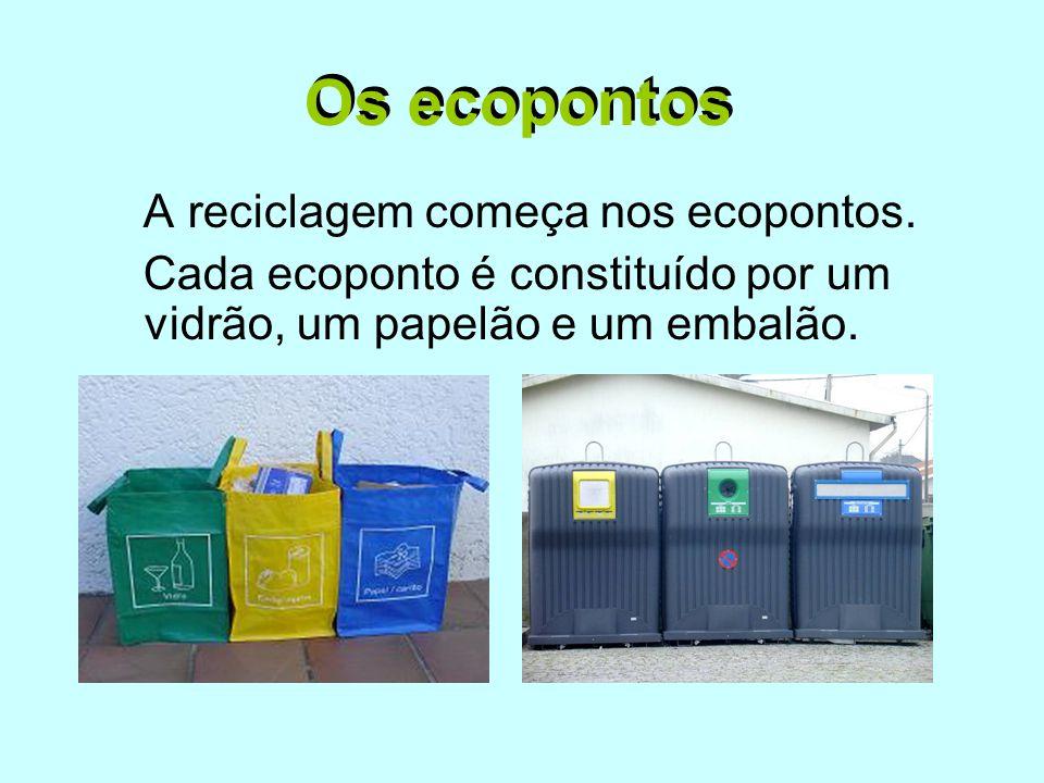 Os ecopontos A reciclagem começa nos ecopontos. Cada ecoponto é constituído por um vidrão, um papelão e um embalão. Os ecopontos