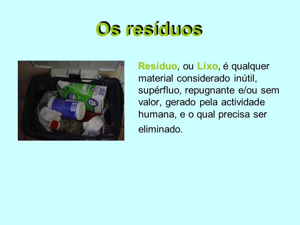 Os resíduos Resíduo, ou Lixo, é qualquer material considerado inútil, supérfluo, repugnante e/ou sem valor, gerado pela actividade humana, e o qual pr