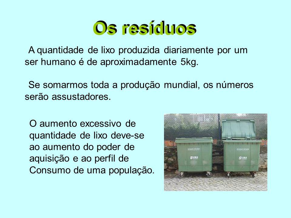 Os resíduos A quantidade de lixo produzida diariamente por um ser humano é de aproximadamente 5kg. Se somarmos toda a produção mundial, os números ser
