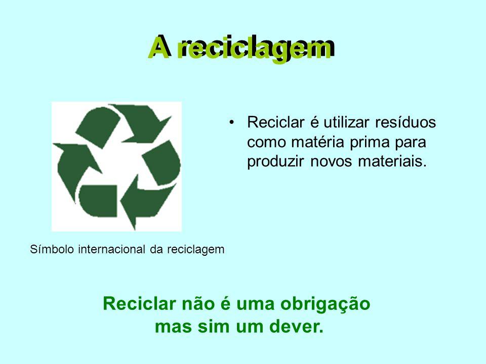 A reciclagem •Reciclar é utilizar resíduos como matéria prima para produzir novos materiais. Símbolo internacional da reciclagem A reciclagem Reciclar
