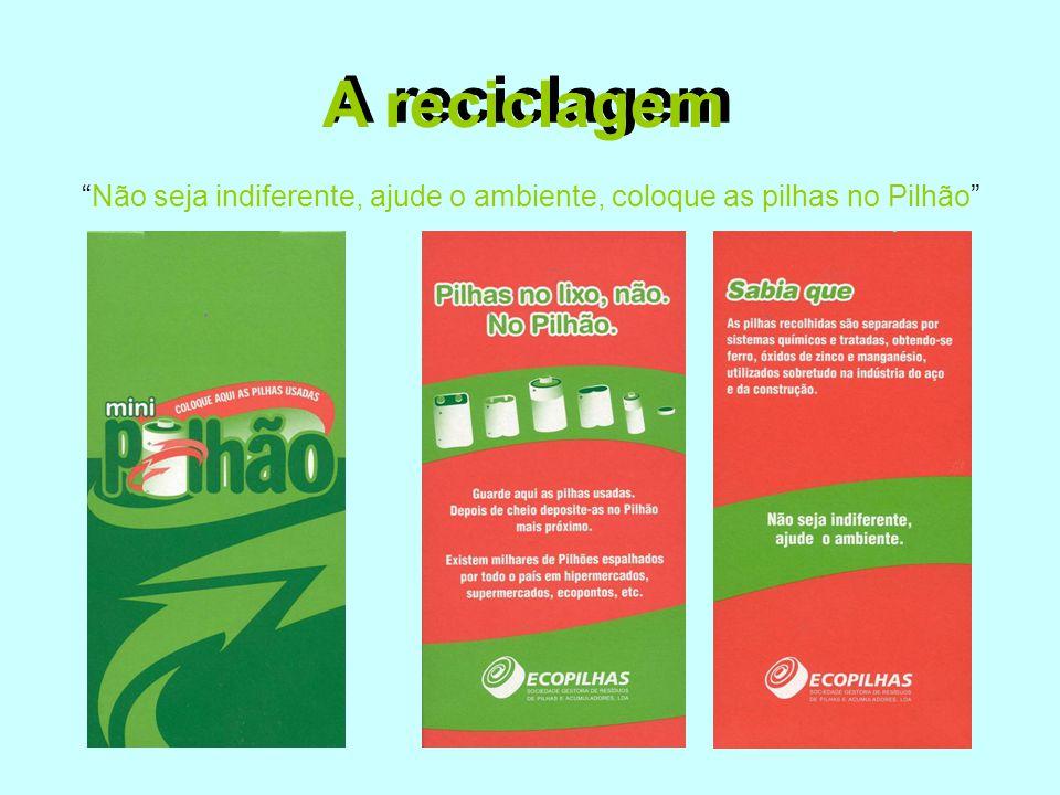 """A reciclagem """"Não seja indiferente, ajude o ambiente, coloque as pilhas no Pilhão"""" A reciclagem"""
