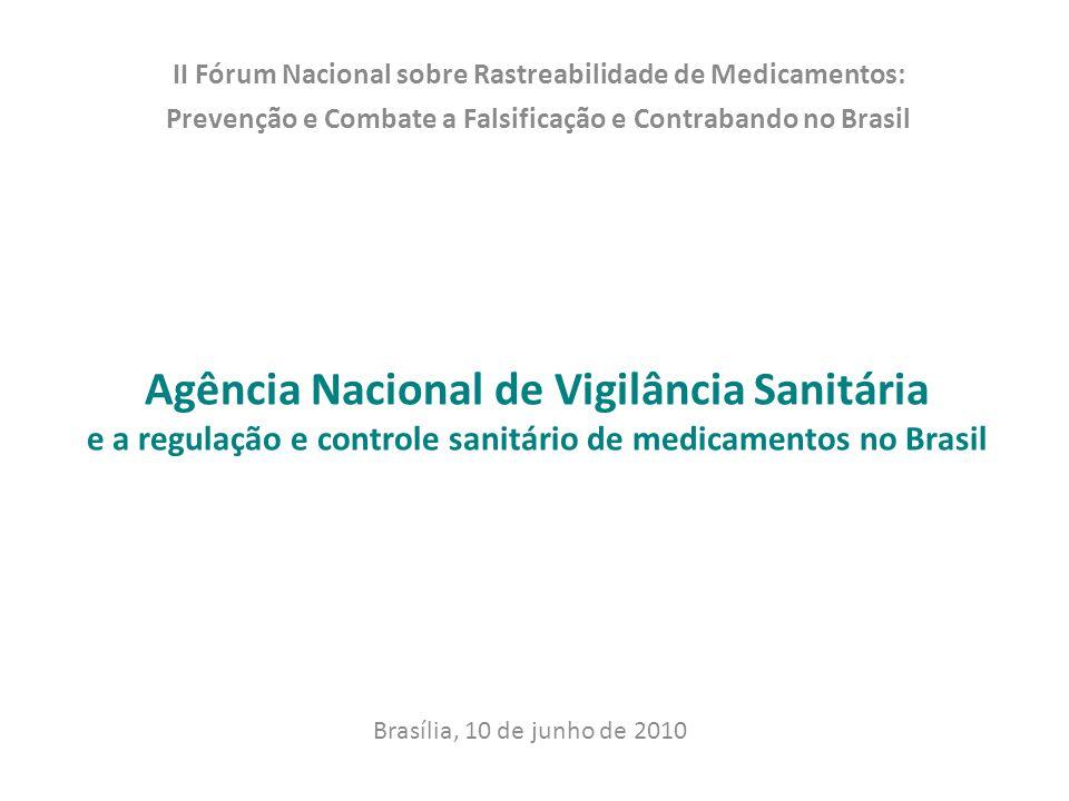 Agência Nacional de Vigilância Sanitária e a regulação e controle sanitário de medicamentos no Brasil II Fórum Nacional sobre Rastreabilidade de Medic