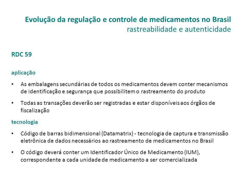 RDC 59 aplicação • As embalagens secundárias de todos os medicamentos devem conter mecanismos de identificação e segurança que possibilitem o rastream