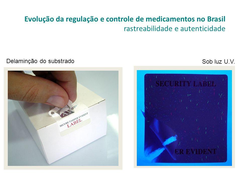 Delaminção do substrado Sob luz U.V. Evolução da regulação e controle de medicamentos no Brasil rastreabilidade e autenticidade
