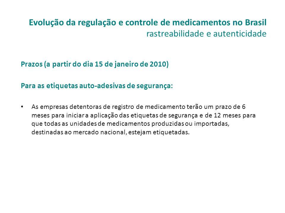 Prazos (a partir do dia 15 de janeiro de 2010) Para as etiquetas auto-adesivas de segurança: • As empresas detentoras de registro de medicamento terão