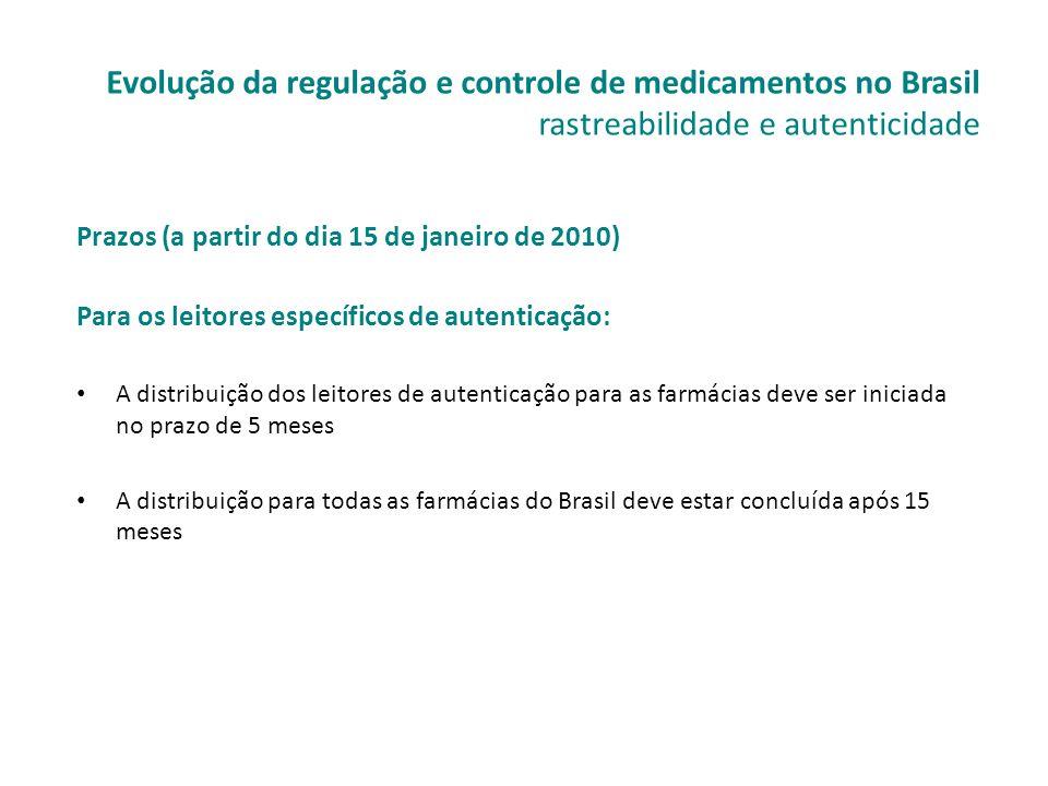 Prazos (a partir do dia 15 de janeiro de 2010) Para os leitores específicos de autenticação: • A distribuição dos leitores de autenticação para as far