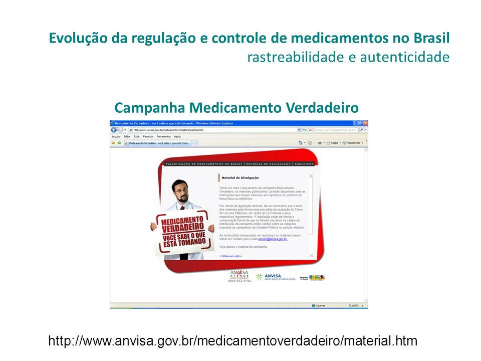 Campanha Medicamento Verdadeiro Evolução da regulação e controle de medicamentos no Brasil rastreabilidade e autenticidade http://www.anvisa.gov.br/me
