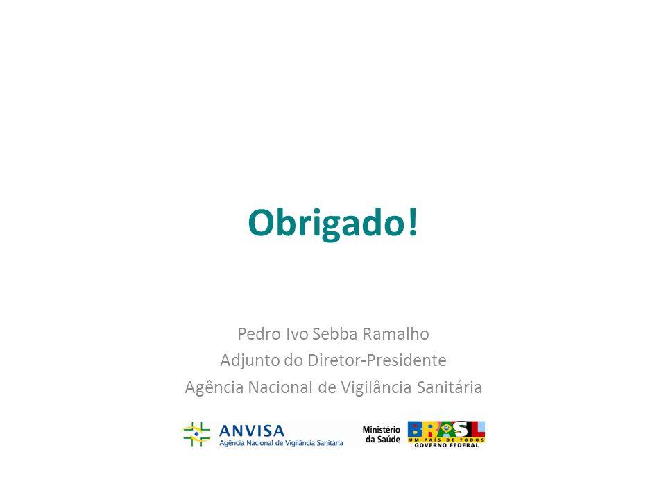 Obrigado! Pedro Ivo Sebba Ramalho Adjunto do Diretor-Presidente Agência Nacional de Vigilância Sanitária