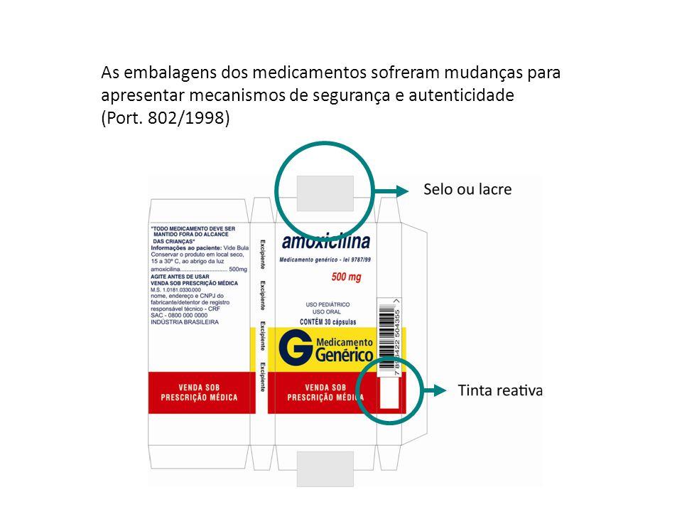 As embalagens dos medicamentos sofreram mudanças para apresentar mecanismos de segurança e autenticidade (Port. 802/1998)