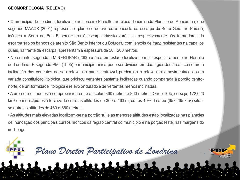 Plano Diretor Participativo de Londrina GEOMORFOLOGIA (RELEVO) • O município de Londrina, localiza-se no Terceiro Planalto, no bloco denominado Planal