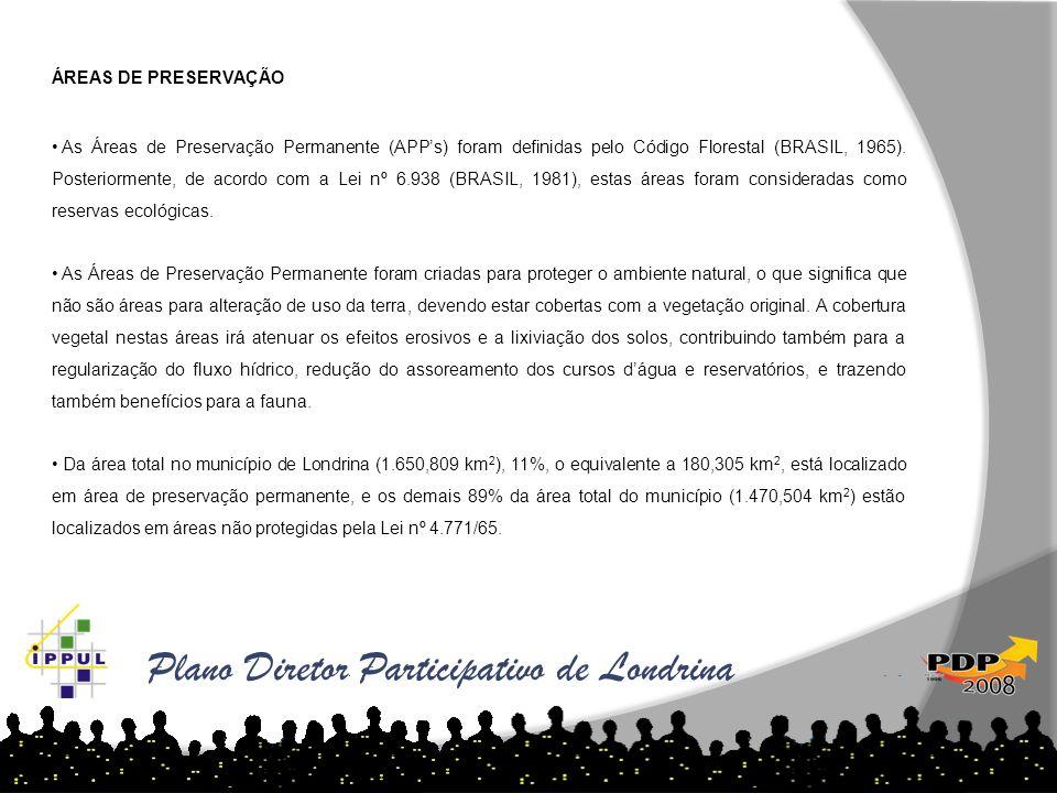 ÁREAS DE PRESERVAÇÃO • As Áreas de Preservação Permanente (APP's) foram definidas pelo Código Florestal (BRASIL, 1965). Posteriormente, de acordo com