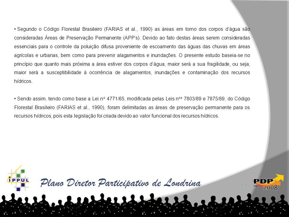 Plano Diretor Participativo de Londrina • Segundo o Código Florestal Brasileiro (FARIAS et al., 1990) as áreas em torno dos corpos d'água são consider