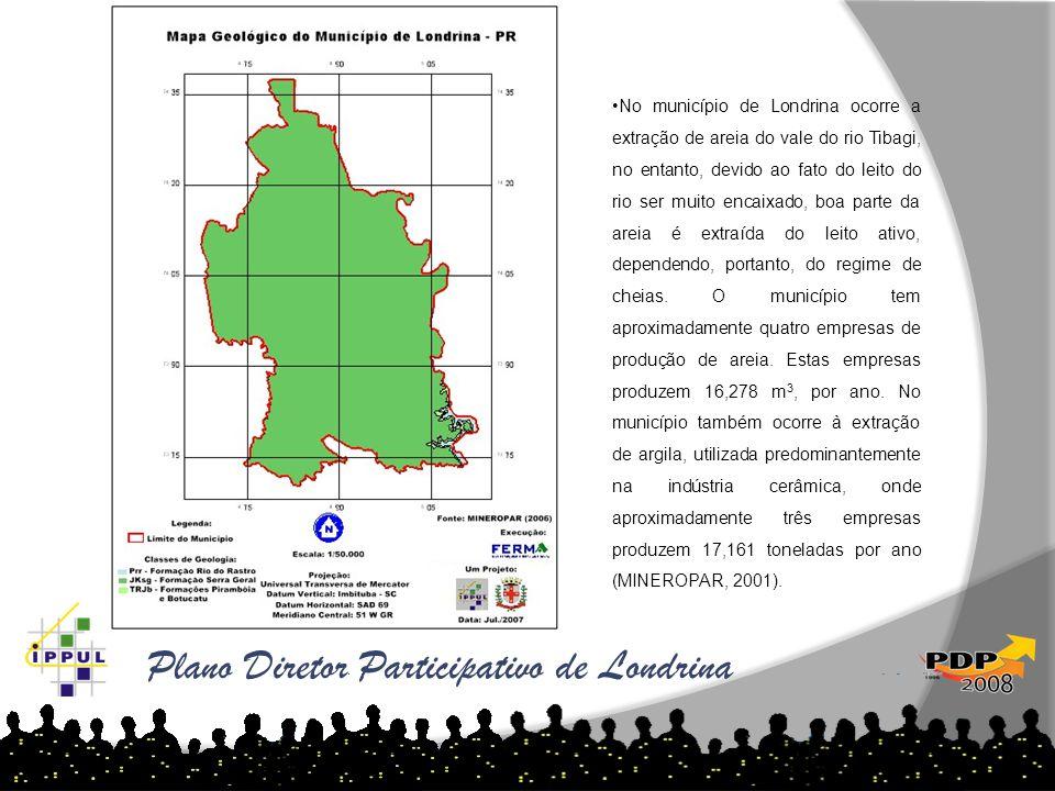 Plano Diretor Participativo de Londrina •No município de Londrina ocorre a extração de areia do vale do rio Tibagi, no entanto, devido ao fato do leit