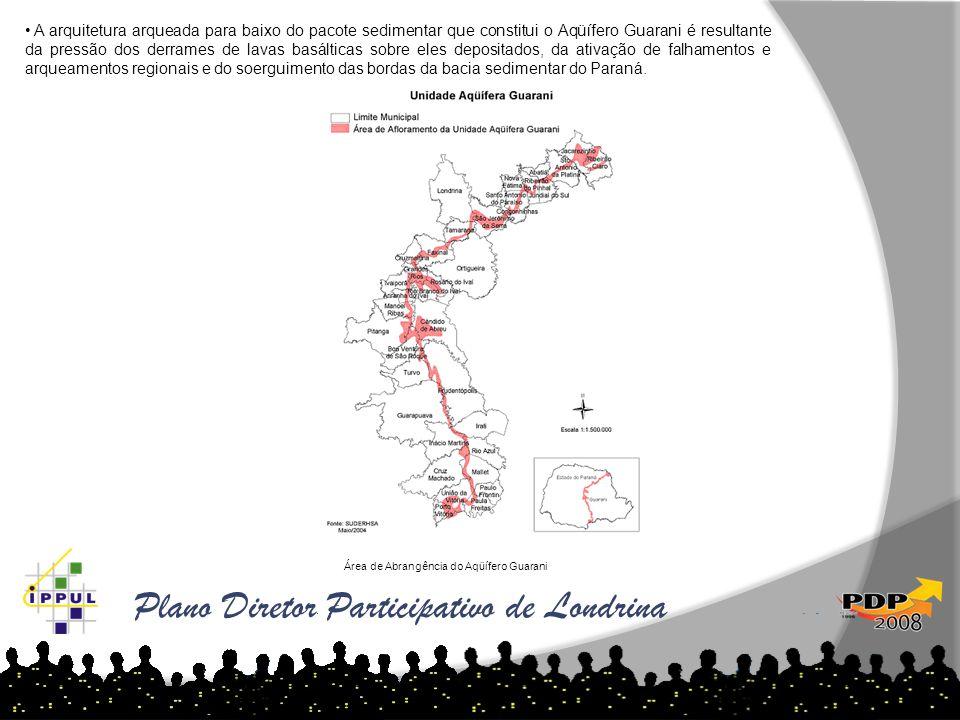 Plano Diretor Participativo de Londrina • A arquitetura arqueada para baixo do pacote sedimentar que constitui o Aqüífero Guarani é resultante da pres