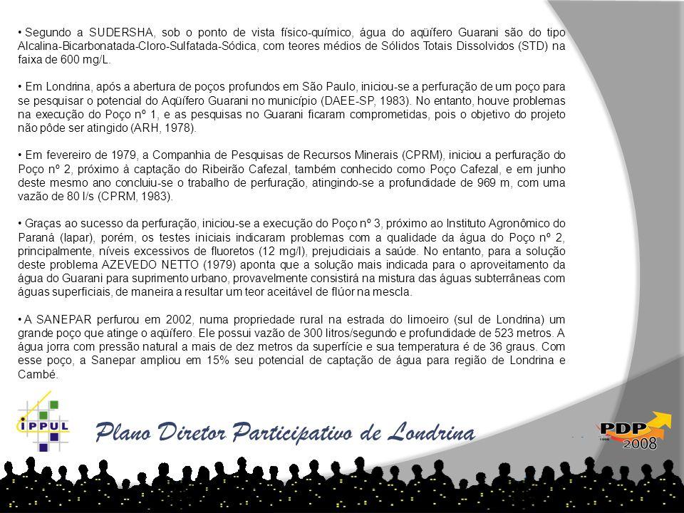 Plano Diretor Participativo de Londrina • Segundo a SUDERSHA, sob o ponto de vista físico-químico, água do aqüífero Guarani são do tipo Alcalina-Bicar