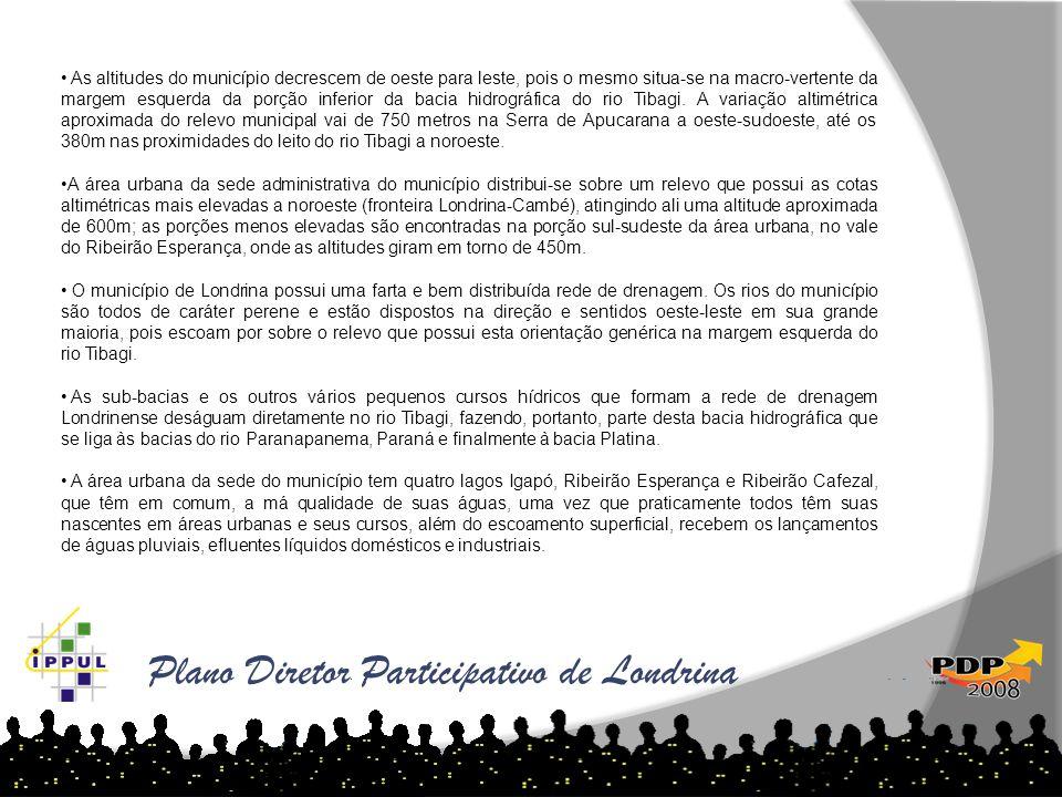 Plano Diretor Participativo de Londrina • As altitudes do município decrescem de oeste para leste, pois o mesmo situa-se na macro-vertente da margem e