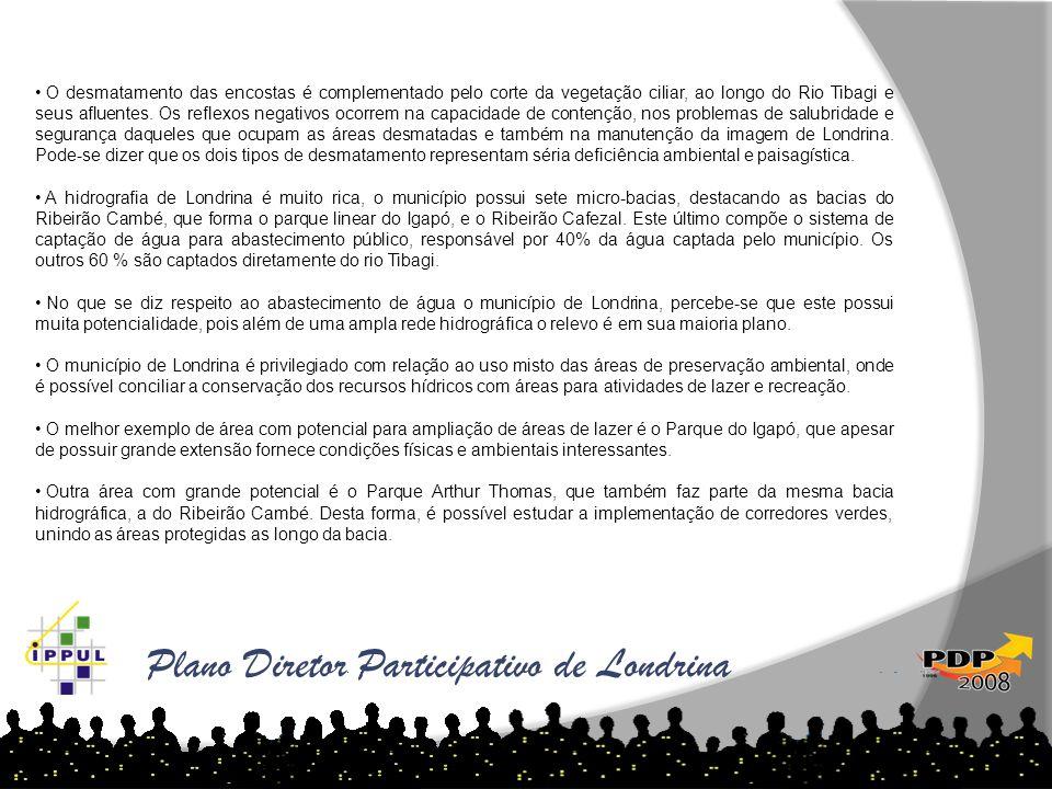 Plano Diretor Participativo de Londrina • O desmatamento das encostas é complementado pelo corte da vegetação ciliar, ao longo do Rio Tibagi e seus af