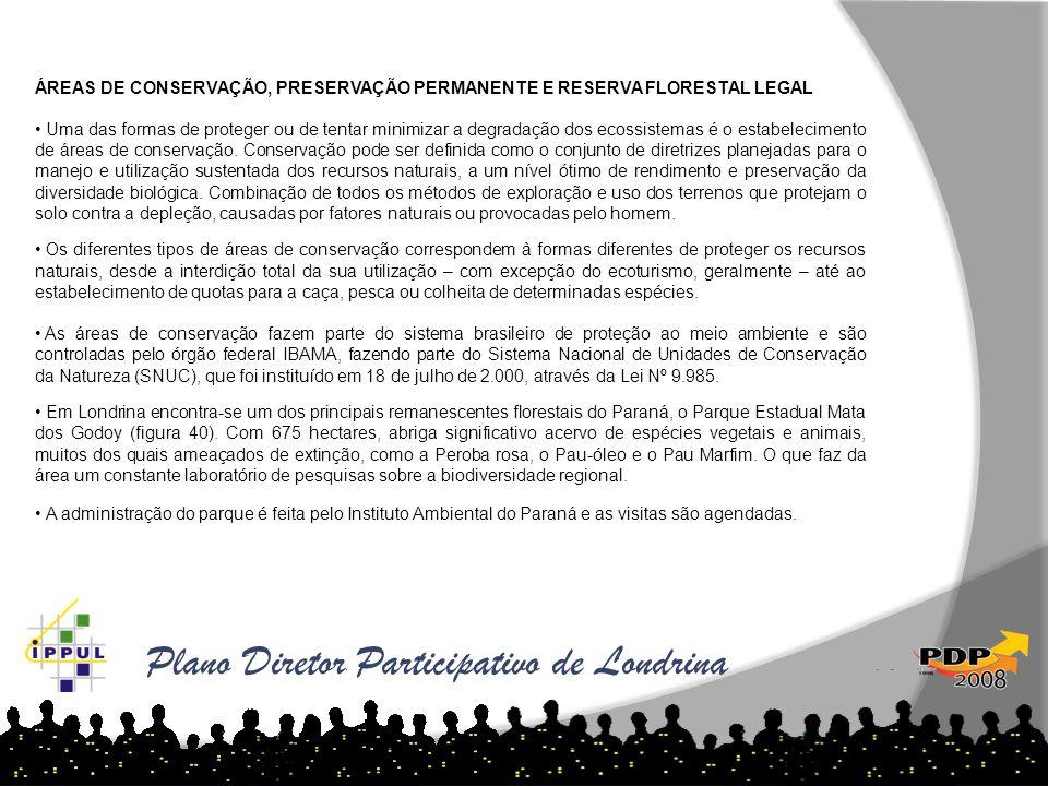 Plano Diretor Participativo de Londrina ÁREAS DE CONSERVAÇÃO, PRESERVAÇÃO PERMANENTE E RESERVA FLORESTAL LEGAL • Uma das formas de proteger ou de tent