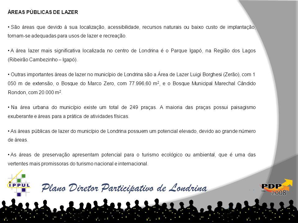 Plano Diretor Participativo de Londrina ÁREAS PÚBLICAS DE LAZER • São áreas que devido à sua localização, acessibilidade, recursos naturais ou baixo c