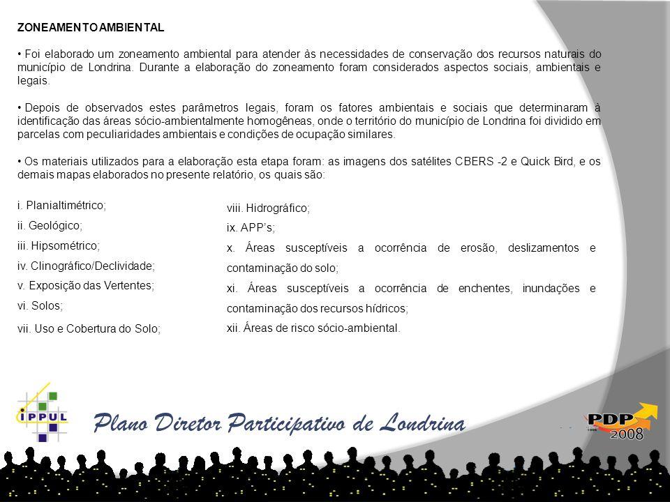 Plano Diretor Participativo de Londrina ZONEAMENTO AMBIENTAL • Foi elaborado um zoneamento ambiental para atender às necessidades de conservação dos r