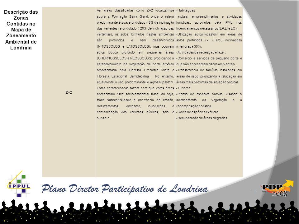 Plano Diretor Participativo de Londrina Descrição das Zonas Contidas no Mapa de Zoneamento Ambiental de Londrina ZA2 As áreas classificadas como ZA2 l