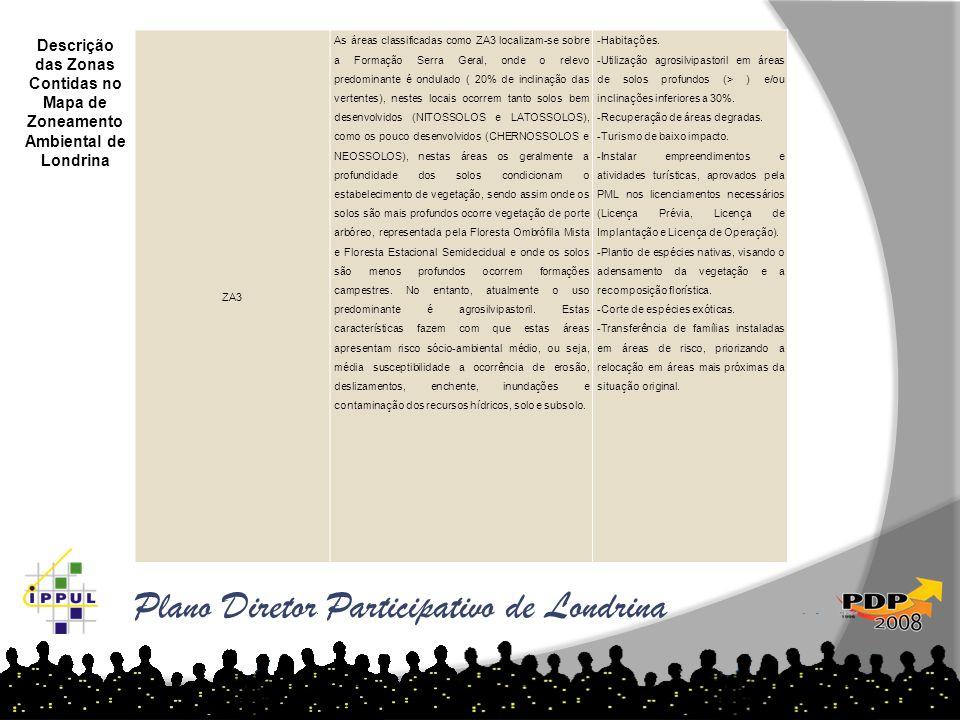 Plano Diretor Participativo de Londrina ZA3 As áreas classificadas como ZA3 localizam-se sobre a Formação Serra Geral, onde o relevo predominante é on