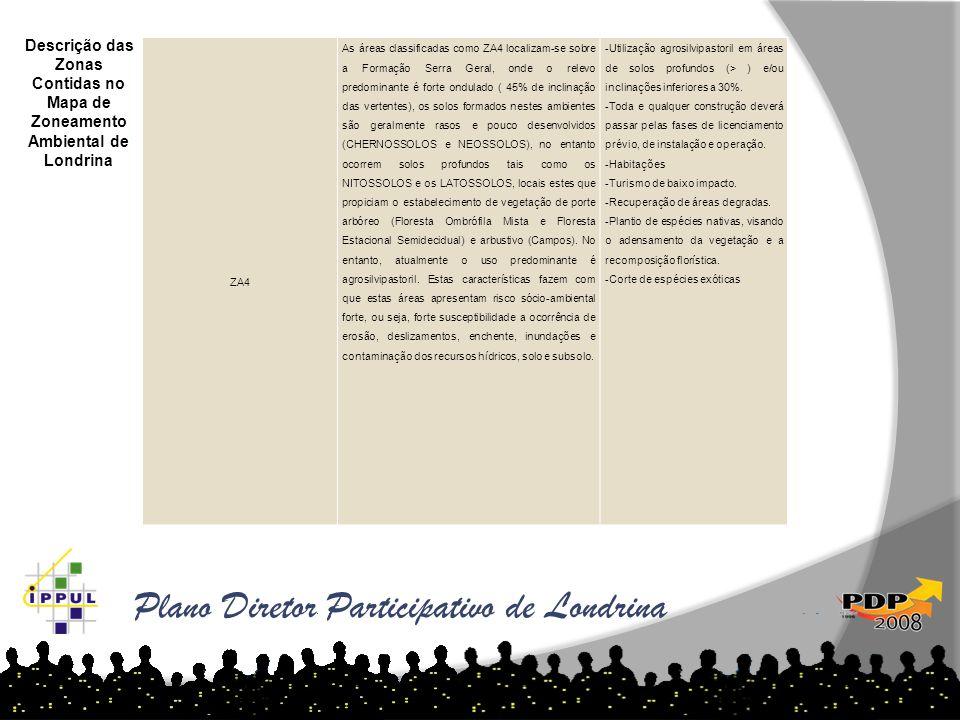 Plano Diretor Participativo de Londrina Descrição das Zonas Contidas no Mapa de Zoneamento Ambiental de Londrina ZA4 As áreas classificadas como ZA4 l