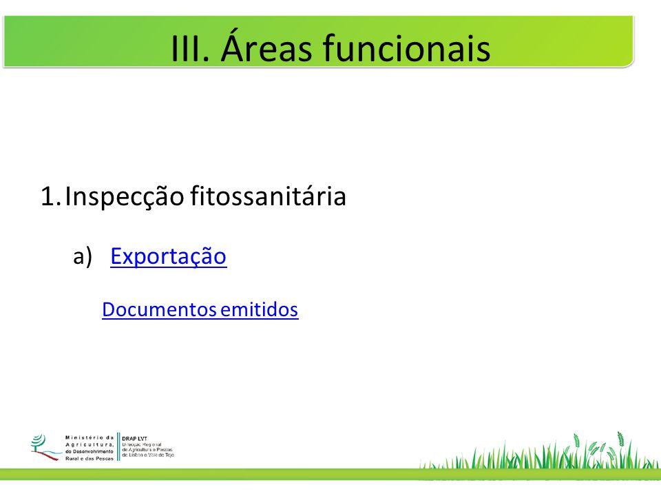 III. Áreas funcionais 1.Inspecção fitossanitária a)ExportaçãoExportação Documentos emitidos