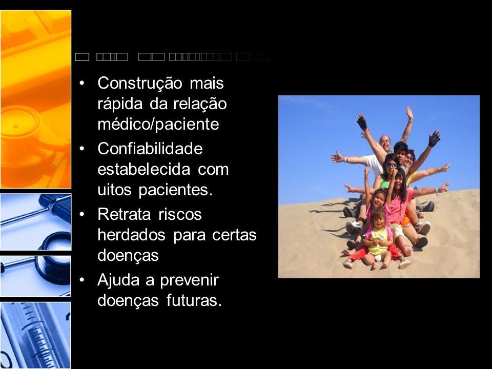 •Construção mais rápida da relação médico/paciente •Confiabilidade estabelecida com uitos pacientes. •Retrata riscos herdados para certas doenças •Aju