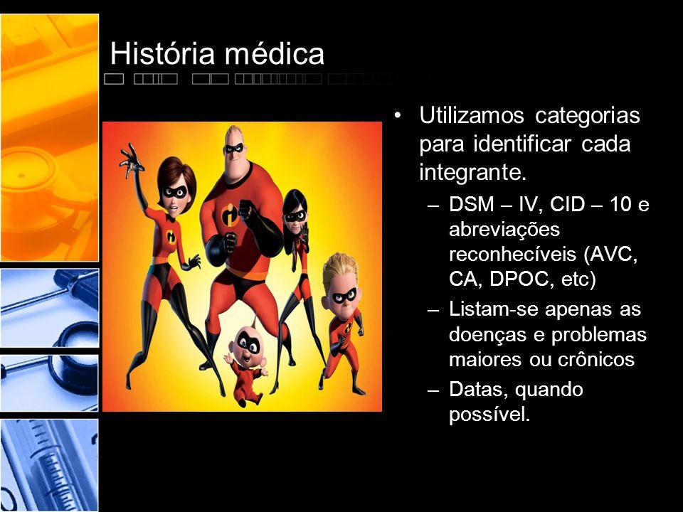 História médica •Utilizamos categorias para identificar cada integrante. –DSM – IV, CID – 10 e abreviações reconhecíveis (AVC, CA, DPOC, etc) –Listam-