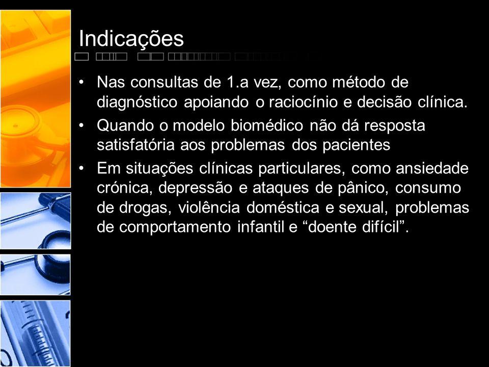 Indicações •Nas consultas de 1.a vez, como método de diagnóstico apoiando o raciocínio e decisão clínica. •Quando o modelo biomédico não dá resposta s