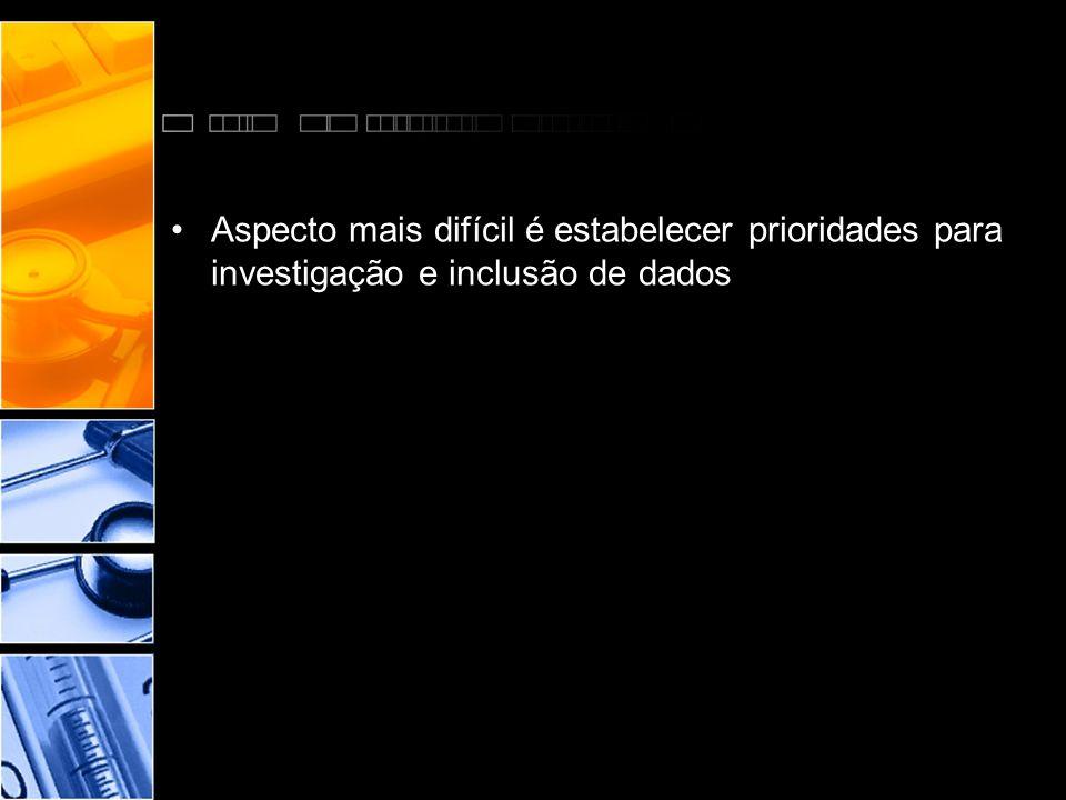 •Aspecto mais difícil é estabelecer prioridades para investigação e inclusão de dados